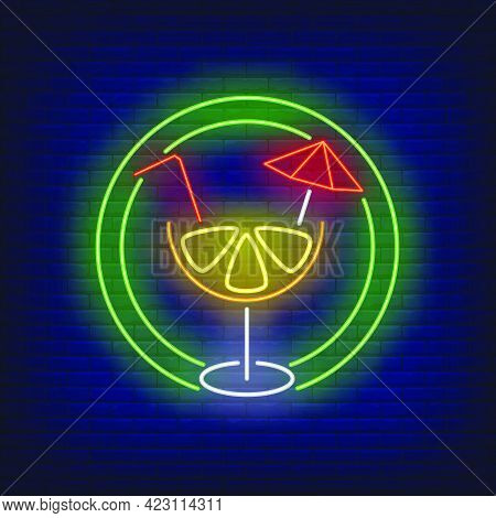 Citrus Cocktail With Straw And Umbrella In Circle Neon Sign. Tropical Drink, Beverage, Freshness Des
