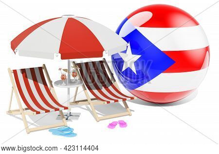 Puerto Rican Resorts, Puerto Rico Vacation, Tours, Travel Packages Concept. 3d Rendering Isolated On