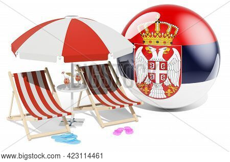 Serbian Resorts, Serbia Vacation, Tours, Travel Packages Concept. 3d Rendering Isolated On White Bac