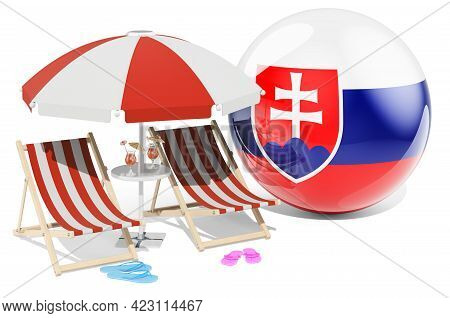 Slovak Resorts, Slovakia Vacation, Tours, Travel Packages Concept. 3d Rendering Isolated On White Ba