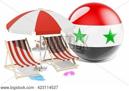 Syrian Resorts, Syria Vacation, Tours, Travel Packages Concept. 3d Rendering Isolated On White Backg