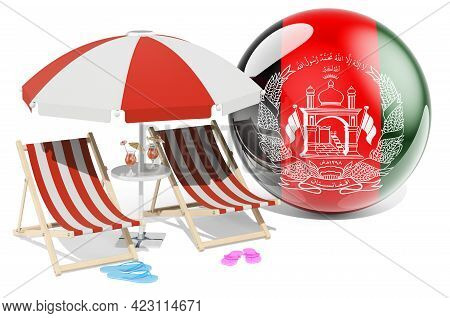 Afghan Resorts, Afghanistan Vacation, Tours, Travel Packages Concept. 3d Rendering Isolated On White