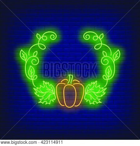 Pumpkin And Leaves Frame Neon Sign. Autumn, Decoration Design. Night Bright Neon Sign, Colorful Bill