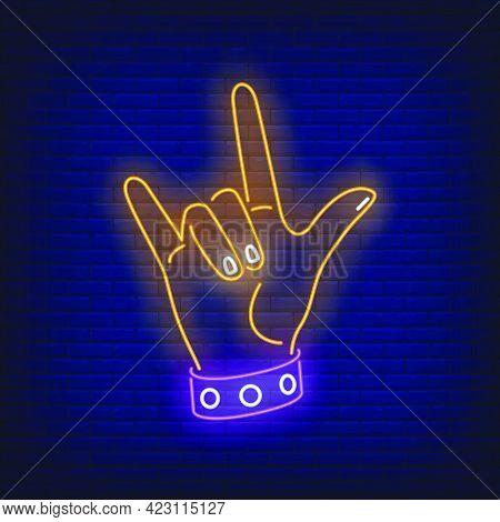 Rock Gesture Neon Sign. Hand, Devil Horn, Rocker. Gestures Concept. Vector Illustration In Neon Styl