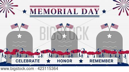 Usa Memorial Day Greeting Card With A Tomb, A Flag, Poppy And Firework.