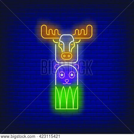 Totem Pole With Elk And Bear Neon Sign. Culture, Idol, Religion Design. Night Bright Neon Sign, Colo