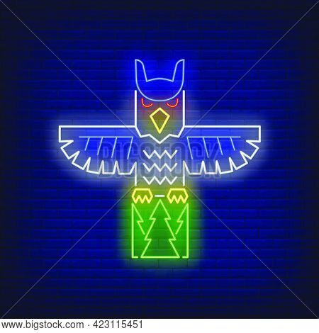 Totem Pole With Owl Neon Sign. Culture, Idol, Religion Design. Night Bright Neon Sign, Colorful Bill