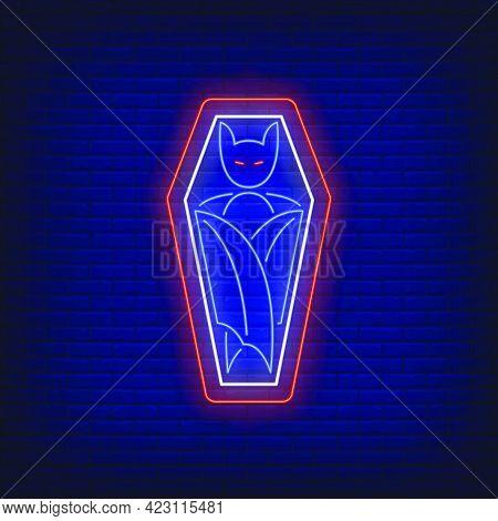 Vampire In Coffin Neon Sign. Halloween, Advertisement Design. Night Bright Neon Sign, Colorful Billb