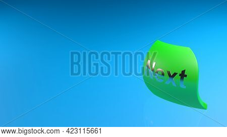 Green Tag With Metallic Write Next, Flying On Blue Background - 3d Rendering Illustration