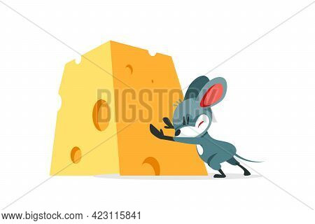 The Cartoon Mouse Wants To Steal The Cheese And Struggles To Push The Big Heavy Cheese. Vector Illus