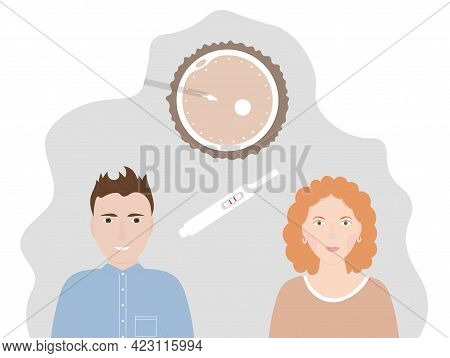 Artificial Insemination With Modern Technology. Problem With Reproduction. Flat Vector Illustration.