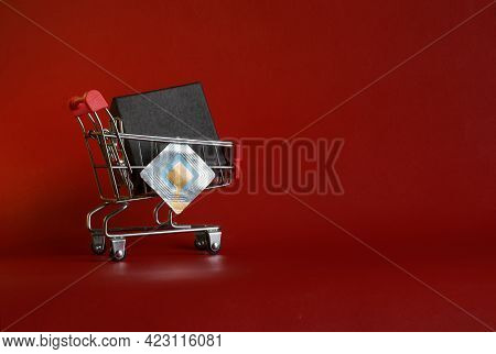 Supermarket Trolley With Black Box And Rfid Tag Transponder. The Concept Of Using Rfid Technology In