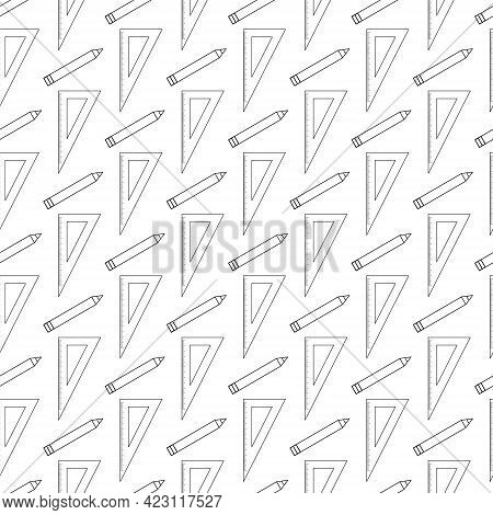 Back To School Simple Background. Seamless Pattern With Rulers And Pencils. Black Outline Drawing On