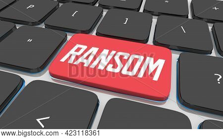 Ransom Computer Keyboard Button Pay Demand Hacked Data Extortion Threat 3d Illustration