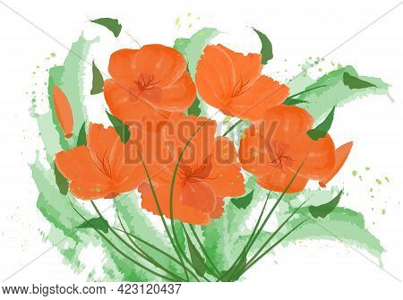 Bouquet Of Abstract Flowers. California Poppies, Tulips. Vector Flowers Made With Watercolor Brush.