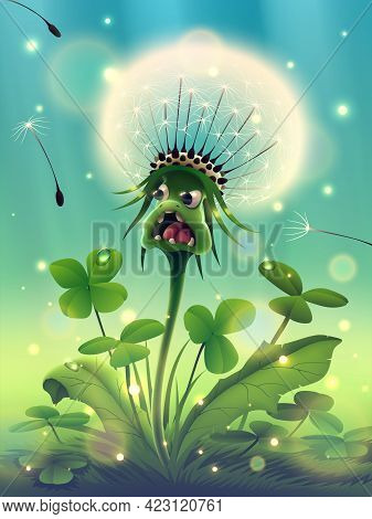 Magic Dandelion Flower With Beautiful Sunny Green Grass, Morning Clover In Fantasy Forest Or Season