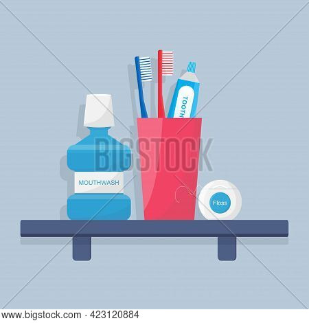 Toothbrushes, Electric Toothbrush, And Toothpaste, Mouthwash, Dental Floss Are On A Shelf.