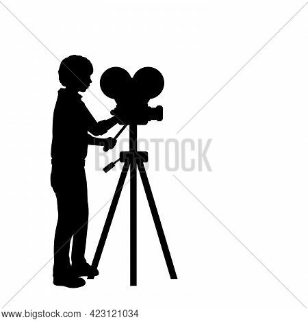 Silhouette Boy With Film Projector. Filming With Camcorder. Illustration Graphics Icon