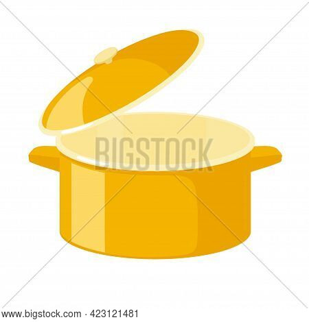 Large Empty Yellow Saucepan For Cooking Soups Isolated On White Background. Open Dishes With Lid. Ki