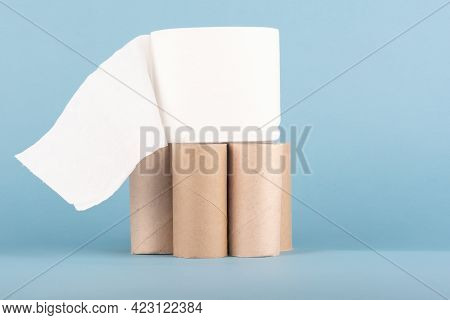 A Roll Of Toilet Paper On Cardboard Toilet Paper Rolls.