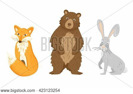 Set 4 Of Cute Animals Collection: Fox, Bear, Rabbit. Forest Animals For Kids Education. Isolated Vec