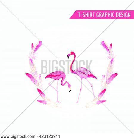 Tropical Graphic Design. Flamingo Birds. Tropical Background. T-shirt Design. Fashion Print. Vector