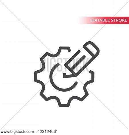 Cogwheel Or Gear With Pencil Line Vector Icon. Settings Or Edit Symbol, Editable Stroke.