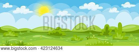 Cartoon Landscape. Summer Background With Cloudy Blue Skies, Green Hills, Grass, Trees And Flowers.