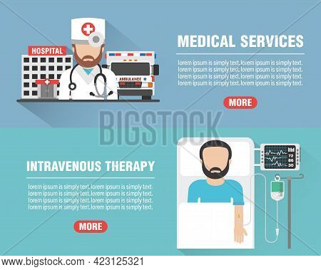 Medical Design Flat Banners Set. Medical Services With Hospital, Ambulance And Doctor Icon. Intraven