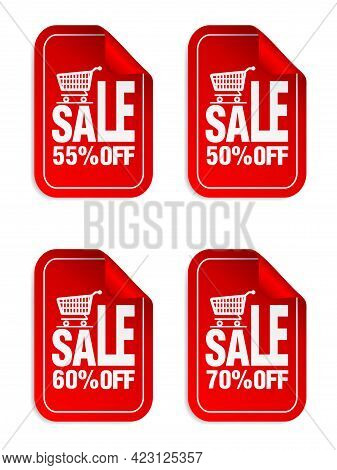 Red Sale Stickers Set With Shopping Cart. Sale Stickers 50%, 55%, 60%, 70% Off. Vector Illustration