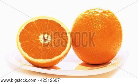 Oranges, Cut Oranges Yellow Orange. Oranges On A White Isolated Background, Fruits For Food And Medi