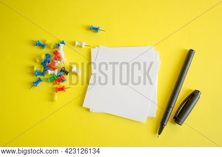Square Sheet Of Paper For Notes. White Sheet Of Paper, Black Permanent Liner, Paper Clips. Copy Spac