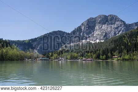 Lake Ritsa And Mountains In The Republic Of Abkhazia. Clear Sunny Day May 12, 2021