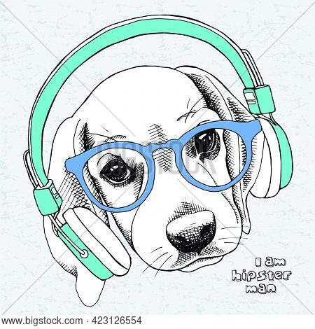 Image Puppy Beagle Portrait With Blue Headphones And Glasses On A Gray Background. Vector Illustrati