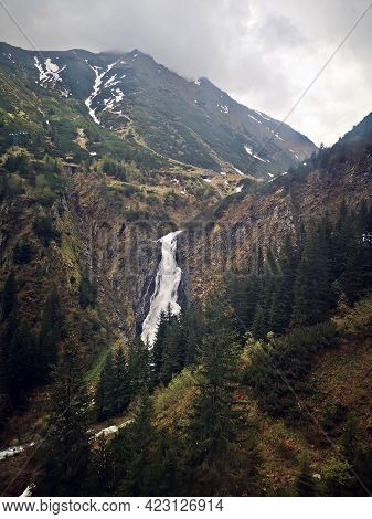 Snow Covered Mountains In Spring - Spring Landscape In High Mountains - Transfagarasan, Balea Waterf