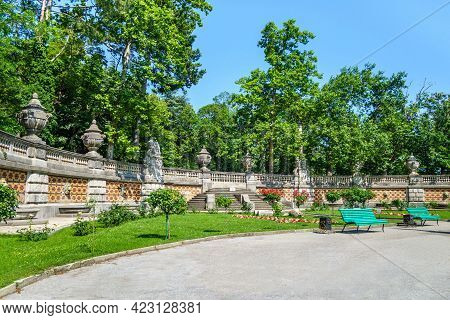 Panorama Of Wall With Elements In Baroque Style (stone Columns, Bowls, Ornaments Etc). This Is Part
