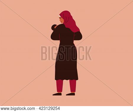 Young Mother Holds Her Newborn Baby With Love And Care. Muslim Woman In Hijab And Her Infant Child T