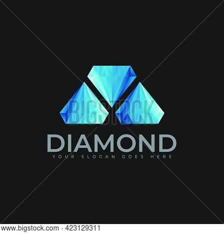 Three Diamond Logo And Icon Design Template
