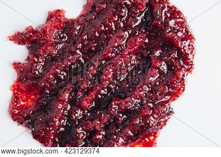 Skin Scrub Smear. The Texture Of The Beauty Product. Natural Scrub With Wild Berries For Skin Care