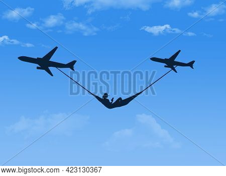 A Woman In A Hammock Is Heading For A Good Weather Tropical Vacation Destination. She Is In A Hammoc