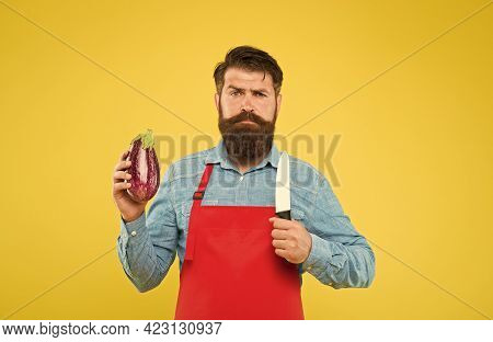 Dish That Will Make You Fall In Love With Eggplant. Man Cook Hold Eggplant And Knife. Healthy Cookin