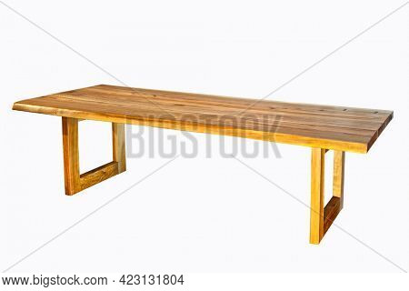 Antique wooden table, isolated on white background