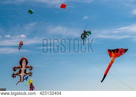 Russia. Kronstadt. June 6, 2021. Aerial Flying Figures In The Form Of Various Animals And Fairy-tale