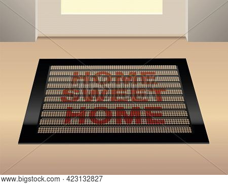 Home Sweet Home Written On A Doormat. Vector Illustration.