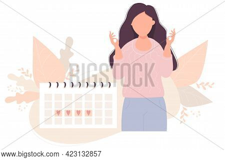 Girl Looking At Calendar. Beautiful Girl Relaxes Next To Her Menstruation Calendar. Vector Illustrat