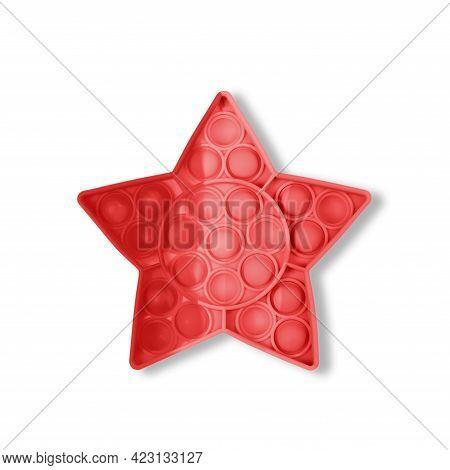 Red Pop It Antistress Game Fidget. Pop Fidget Sensory Toy For Autism Special Needs Stress Relief. Si