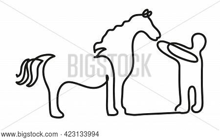 One Line Drawing Of Man Have A Hobby Time. One Continuous Line Drawing Ofman And Horse.