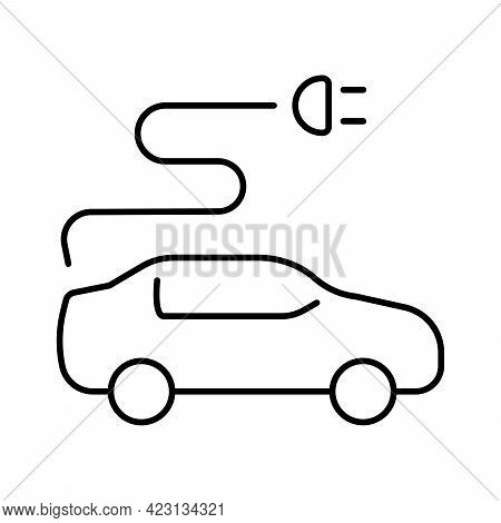 A Simple Icon For An Electric Car Or Hybrid Car, Or An Icon For An Electric Car Charging Station.