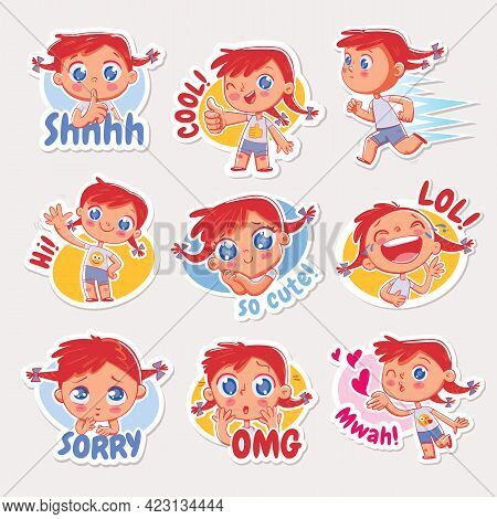 Emoji With Cheerful Redhead Girl. Expressions Of Different Emotions. Emoticon With Inscriptions Shh,