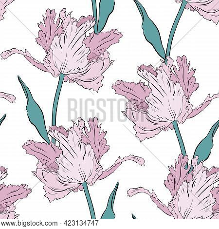 Terry Pink Tulips. Seamless Pattern. Hand Drawn Vector Illustration. Line Art. Texture For Print, Fa